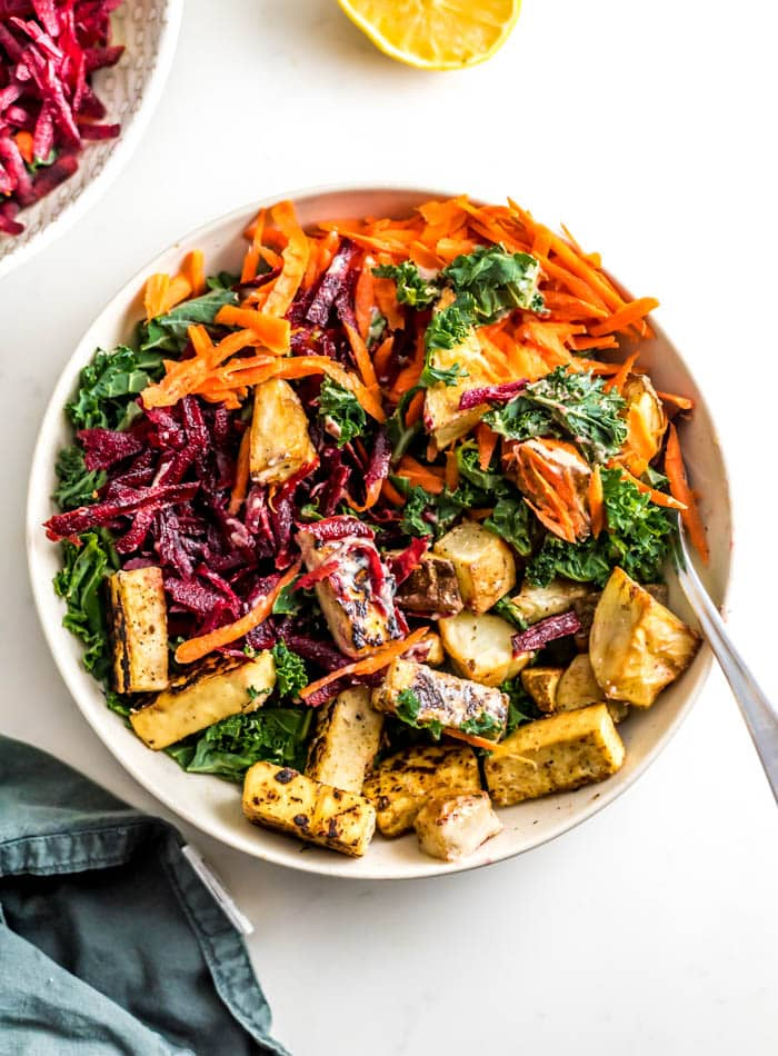 Carrot Beet Kale Salad with Roasted Potatoes