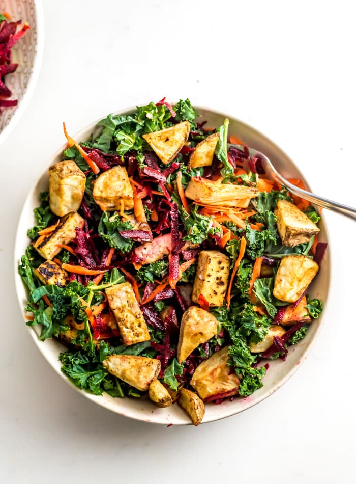 Roasted Potato Tofu Kale Salad with Beet and Carrot - Running on Real Food