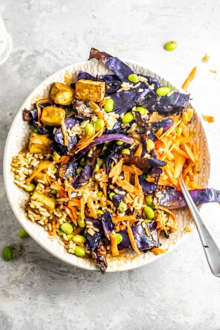 How to make a Healthy Vegan Buddha Bowl with Tofu and Almond Satay Sauce