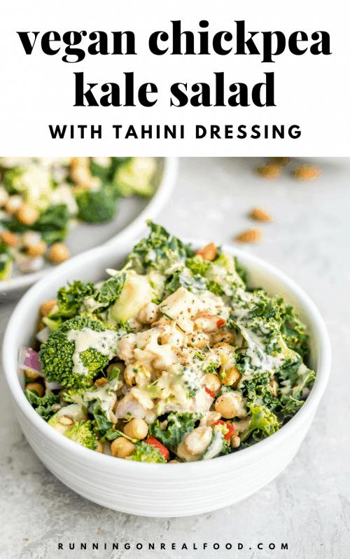 Broccoli Kale Vegan Chickpea Salad Recipe - Running on Real Food
