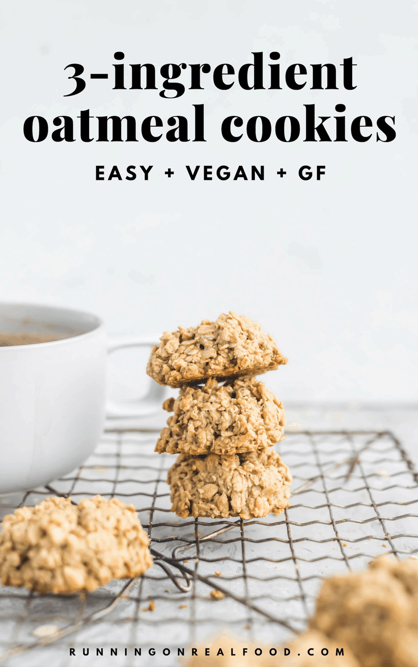 All you need to make these easy vegan 3-ingredient oatmeal cookies is maple syrup, oats and a nut or seed butter of choice! Try them for a delicious, quick and easy vegan dessert.