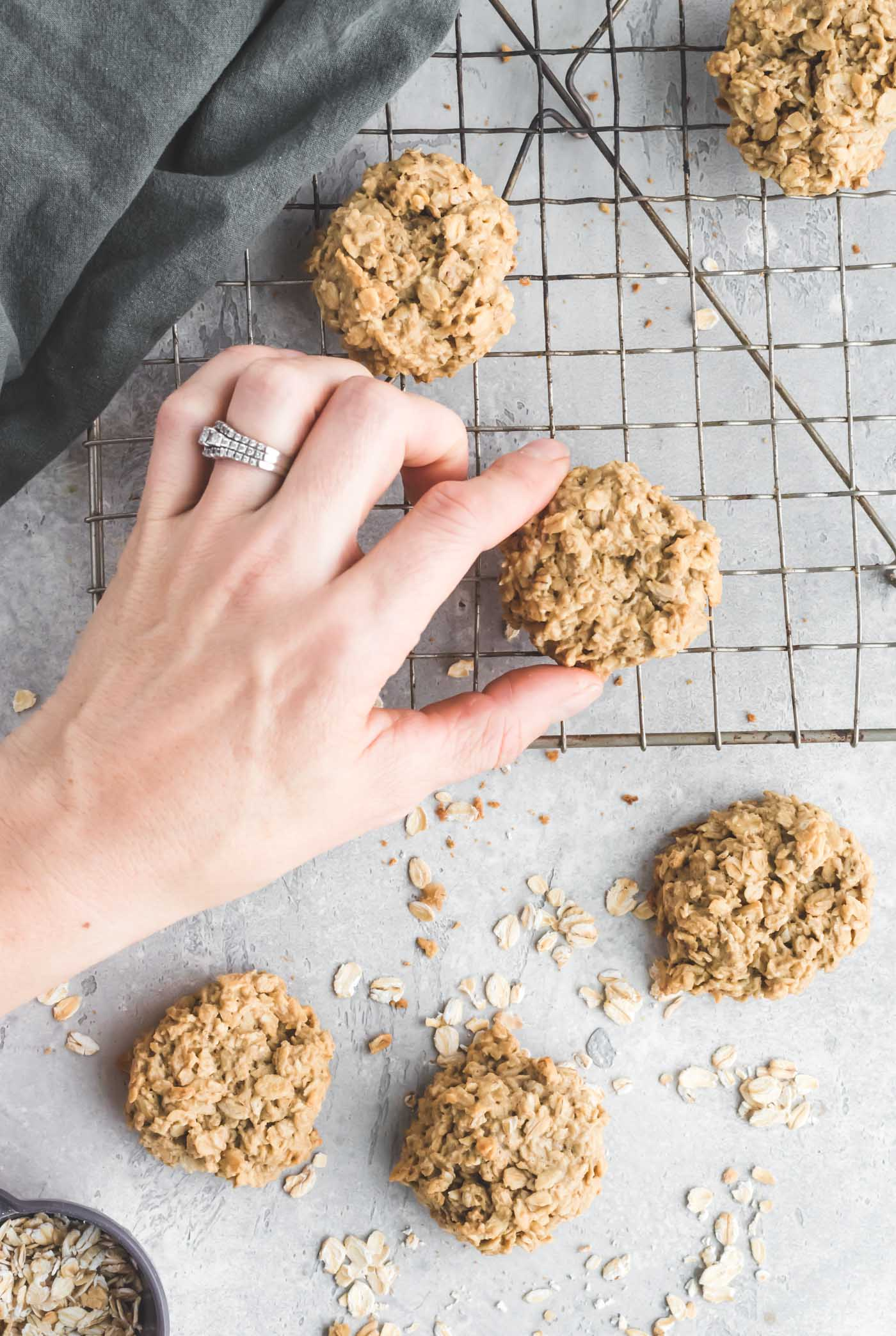Healthy Vegan Oatmeal Cookies with just 3-Ingredients - Running on Real Food