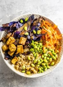 Tofu Edamame Vegan Buddha Bowls - Running on Real FOod