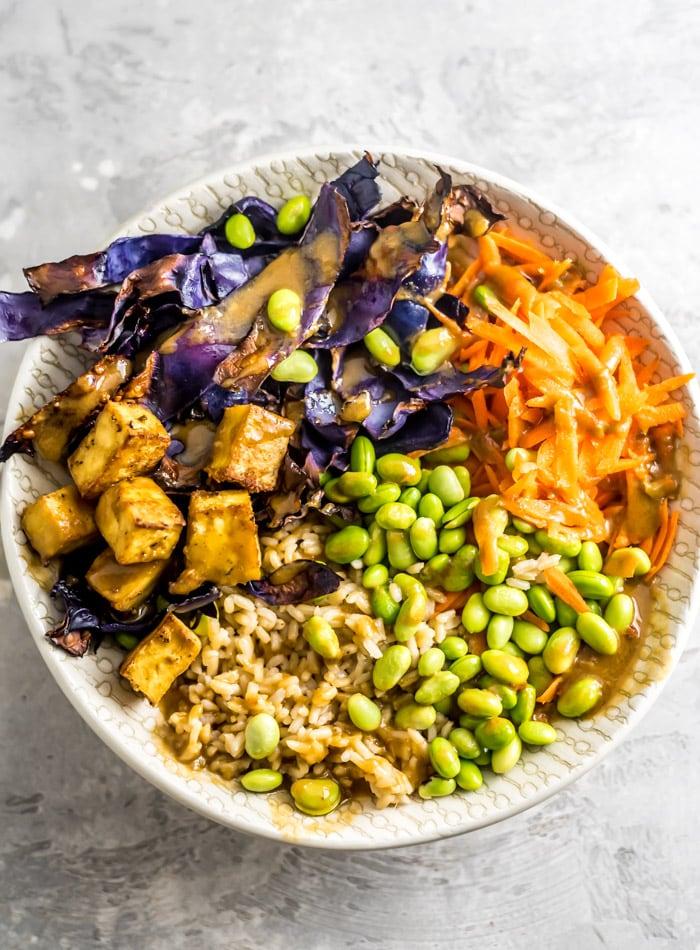 Tofu Edamame Vegan Buddha Bowls - Running on Real FOod