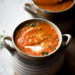 Vegan Roasted Red Pepper Tomato Soup | Running on Real Food