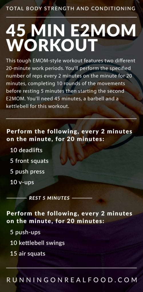 Instructions for a 45 minutes E2MOM Workout by Running on Real Food