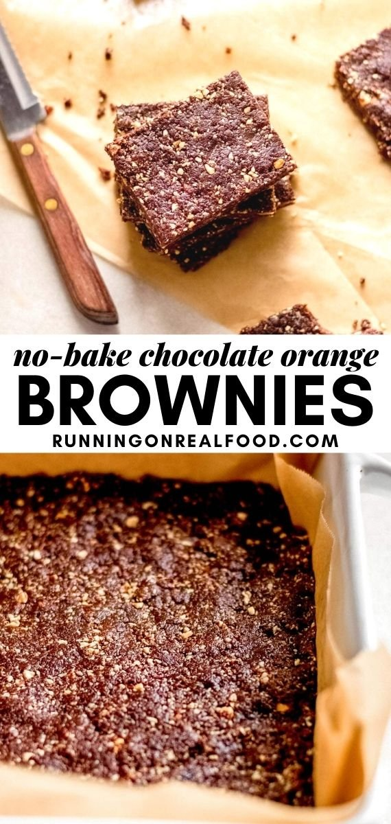 Pinterest graphic with an image and text for chocolate orange brownies.