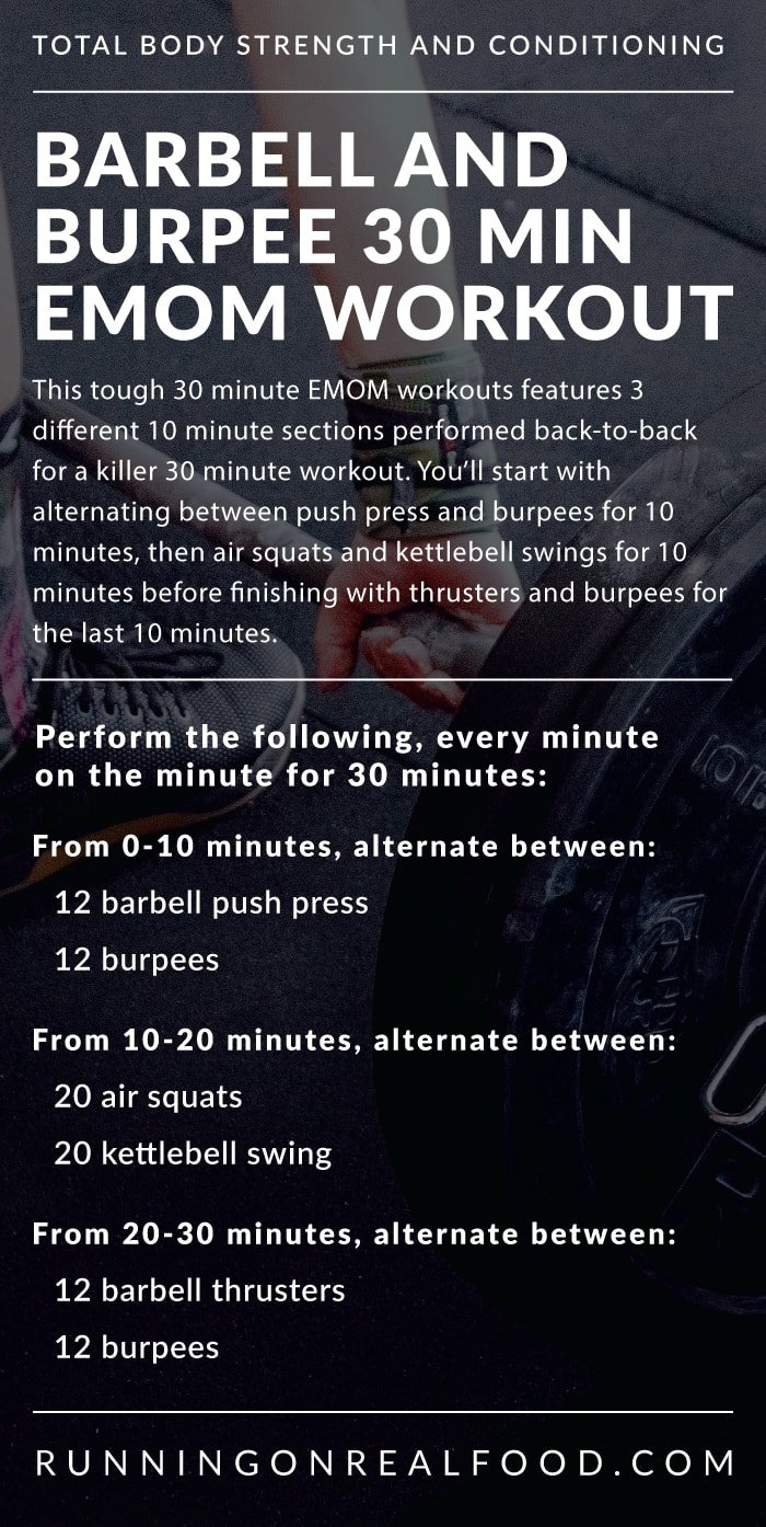 30 Minute EMOM Workout with Kettlebell Swings, Squats, Burpees, Push Press and Thrusters. Put in a ton of work and improve your fitness in just 30 minutes.