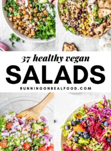 Pinterest graphic with text overlay for 37 healthy vegan salad recipes.
