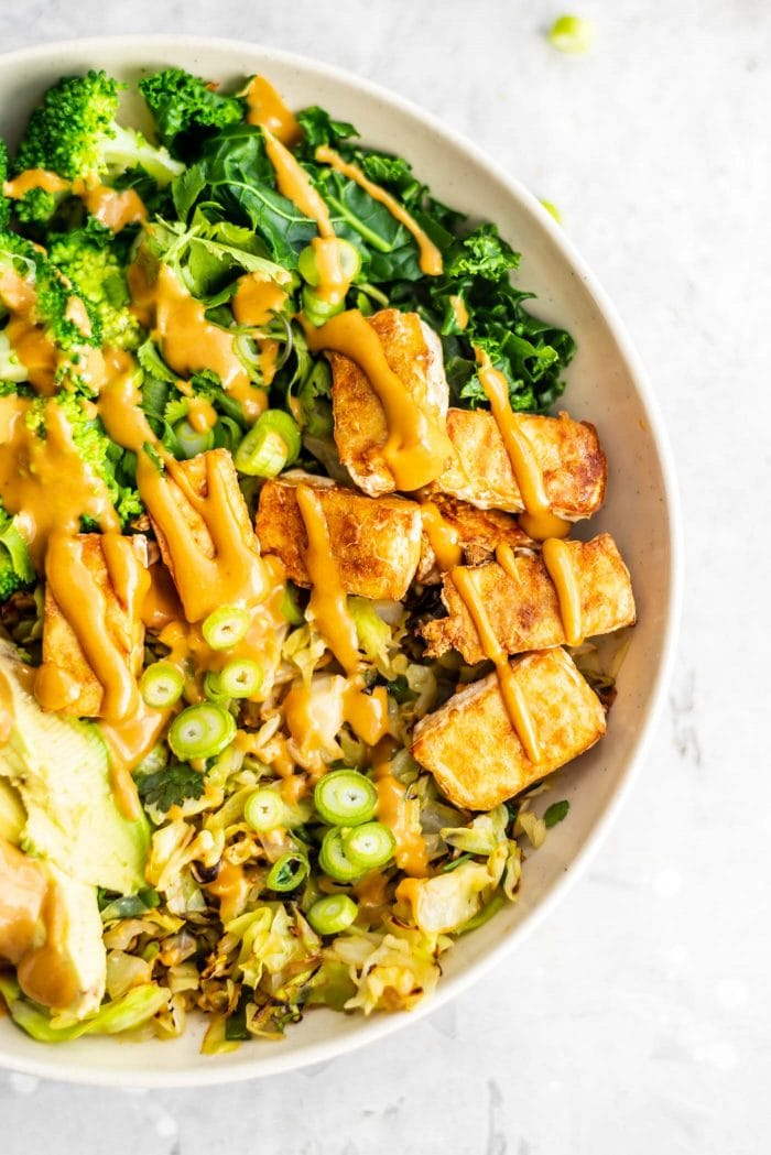 Easy Healthy Low-Carb Vegan Dinner Bowl with Tofu and Cabbage - Running on Real Food