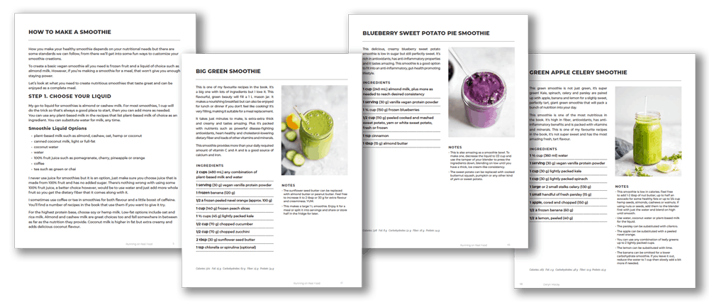 How to make vegan protein smoothies e-book by Running on Real Food.