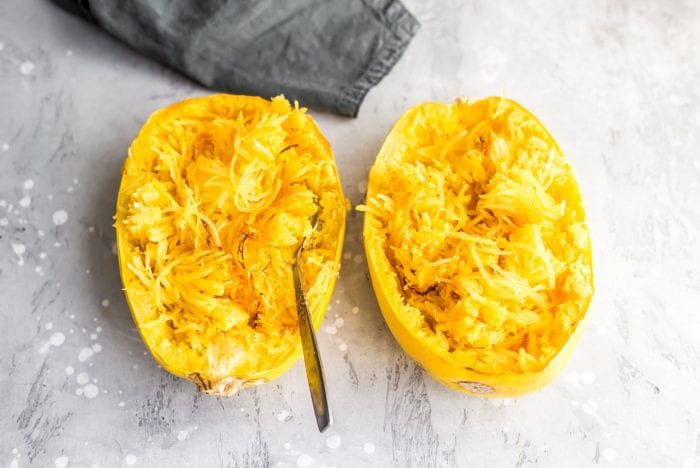 Cooked spaghetti squash noodles.