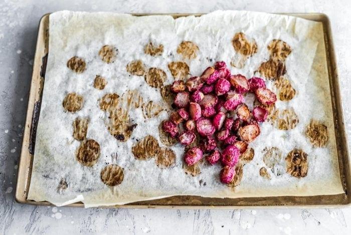 Roasted radish on a baking tray.