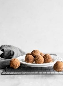 Vegan Sugar-Free Cinnamon Sugar Balls on a plate.