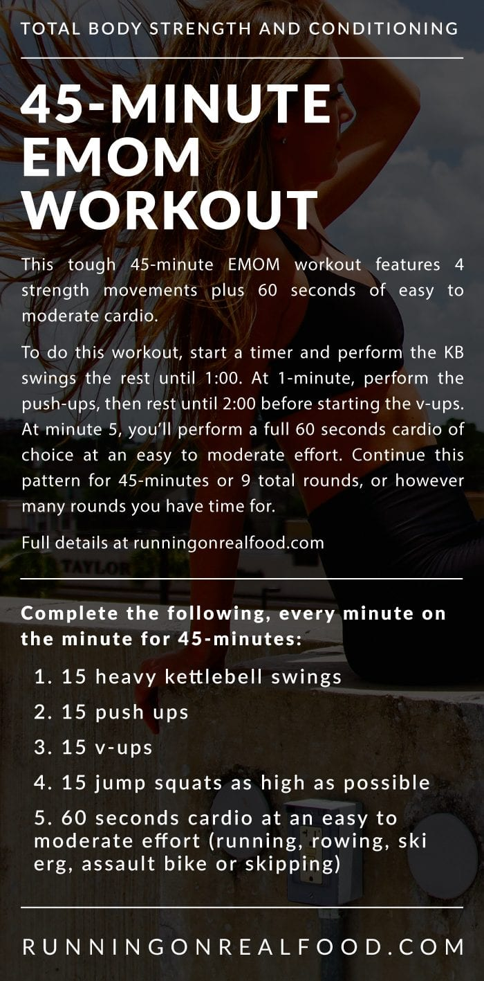 Infographic describing the details for a 45-minute EMOM workout.