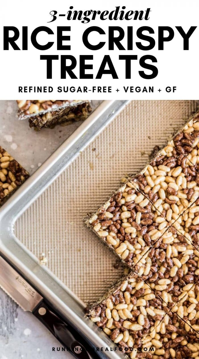 Pinterest graphic for 3-ingredient healthy rice crispy treats.