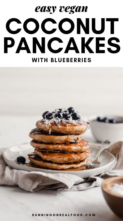Pinterest graphic for fluffy vegan coconut pancakes.