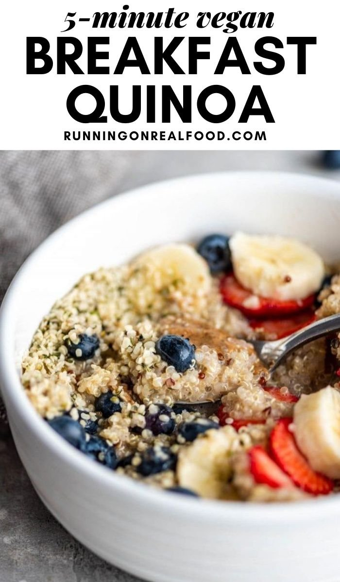 Pinterest graphic with an image and text for quick breakfast quinoa.