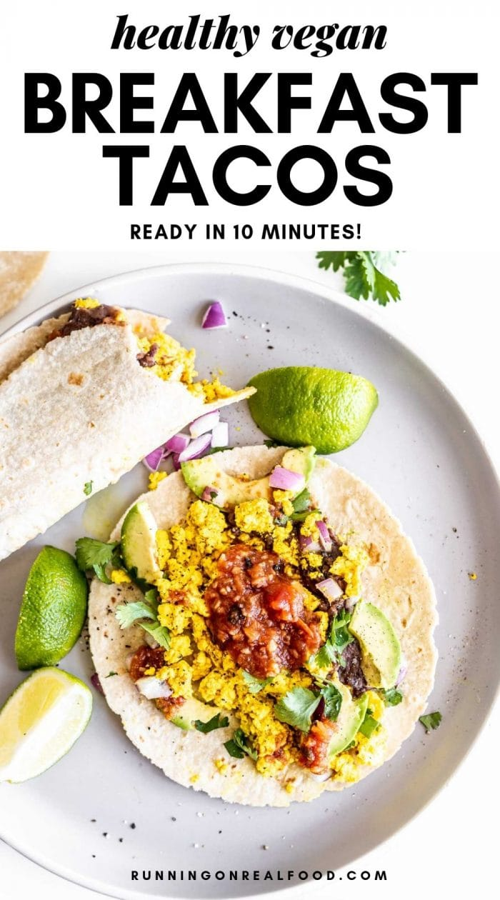 Pinterest graphic for breakfast tacos.