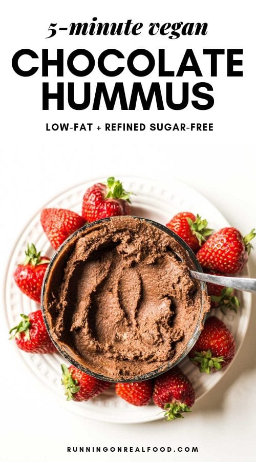 Pinterest image for chocolate hummus dip.