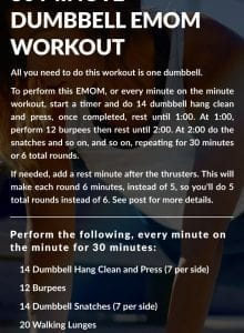 Instructions for a 30 minute dumbbell EMOM workout.