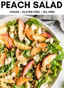 Pinterest graphic for Fresh Arugula Peach Salad.