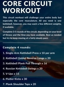 Instructions for a kettlebell and core workout.