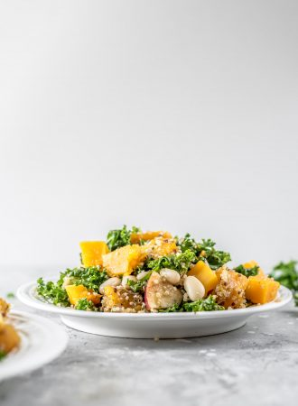 Kale and squash quinoa salad on a white plate.