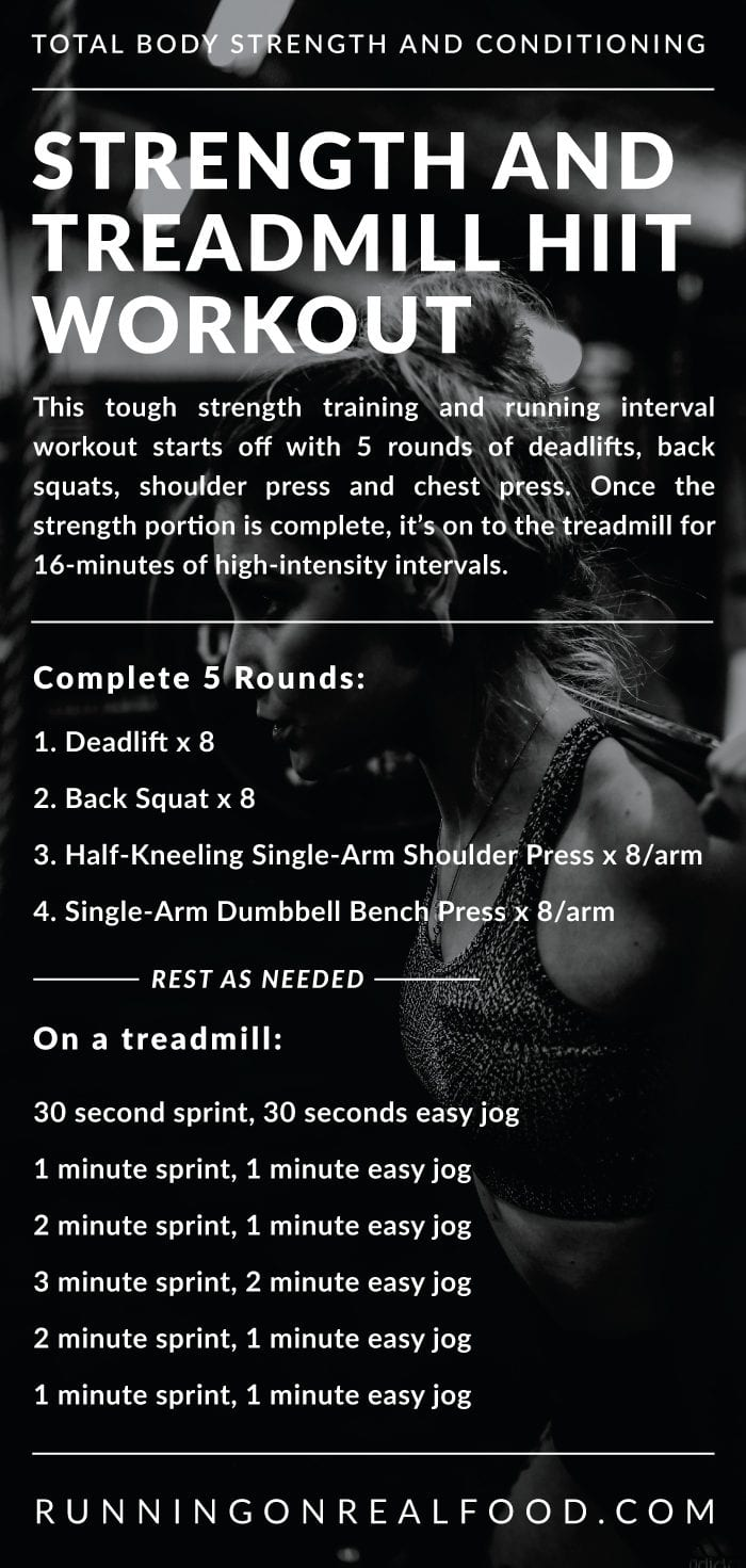Workout instructions for a strength and treadmill interval workout.