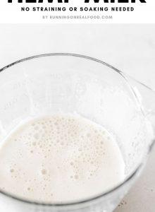 Pinterest image for homemade hemp seed milk.