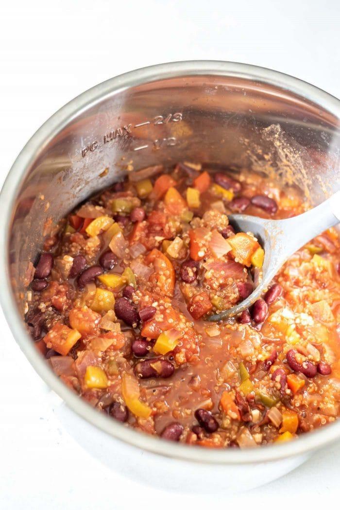 Vegan quinoa chili in an Instant Pot.