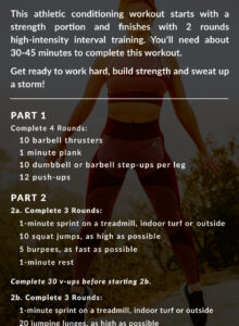 Workout instructions for a 2-part athletic conditioning workout.