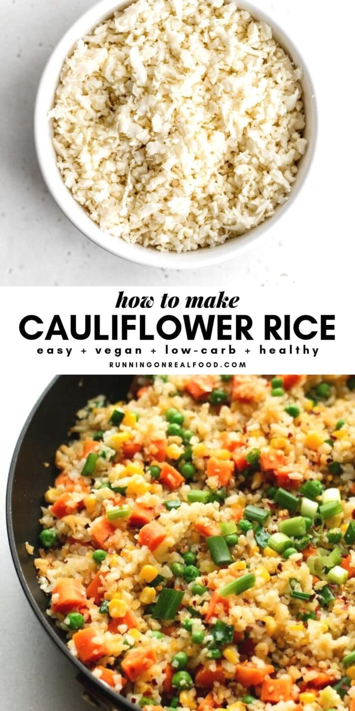 Pinterest graphic with text overlay for how to make cauliflower rice.
