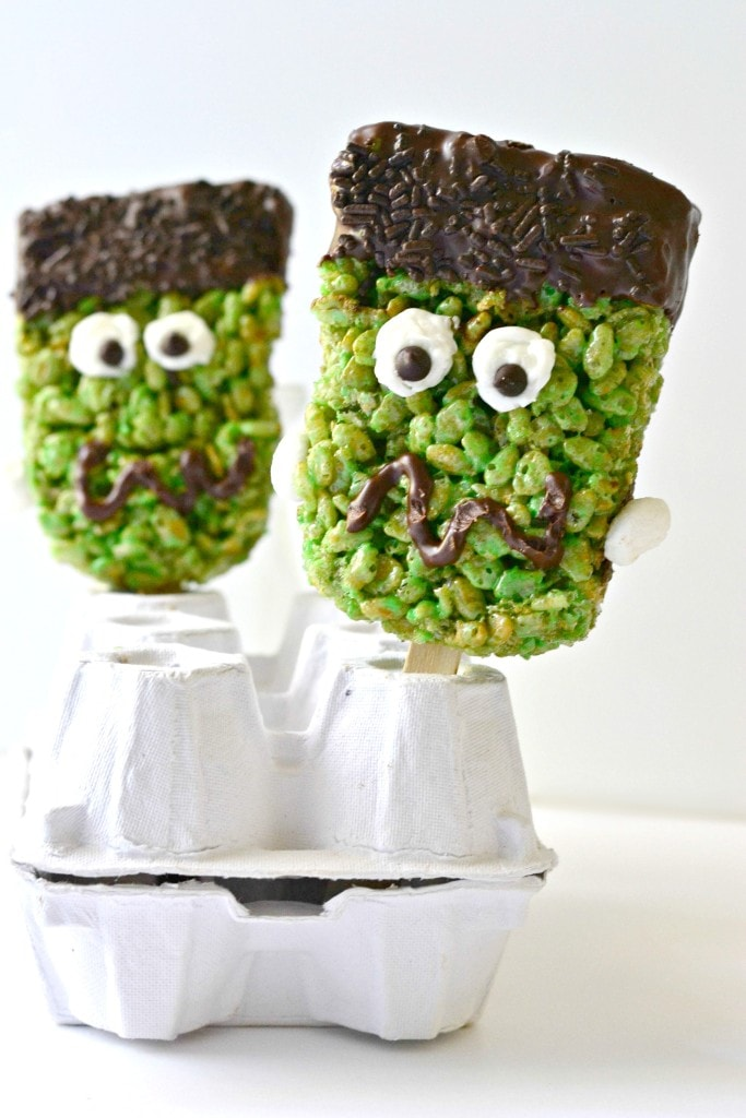 Frankenstein Brown Rice Krispie Treats