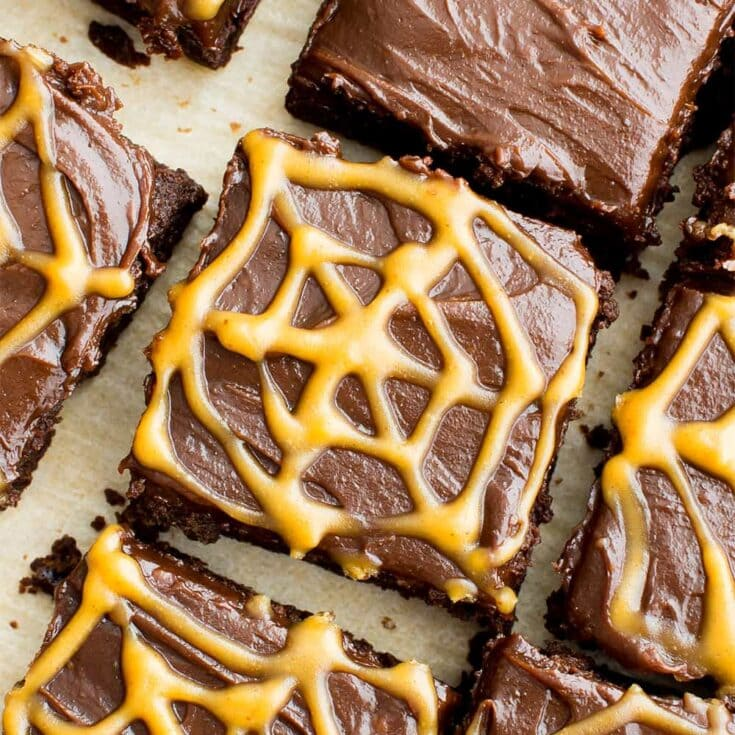 Chocolate Peanut Butter Spiderweb Brownies