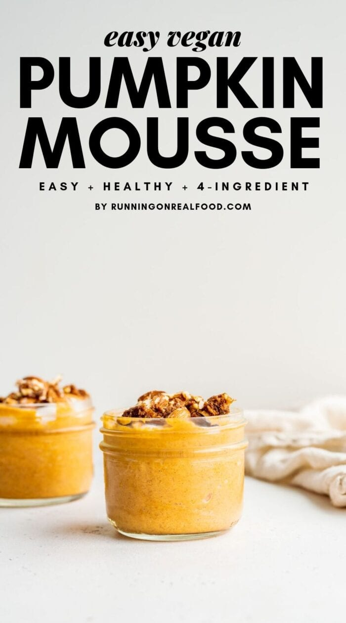 Pinterest graphic with text overlay for vegan pumpkin mousse.