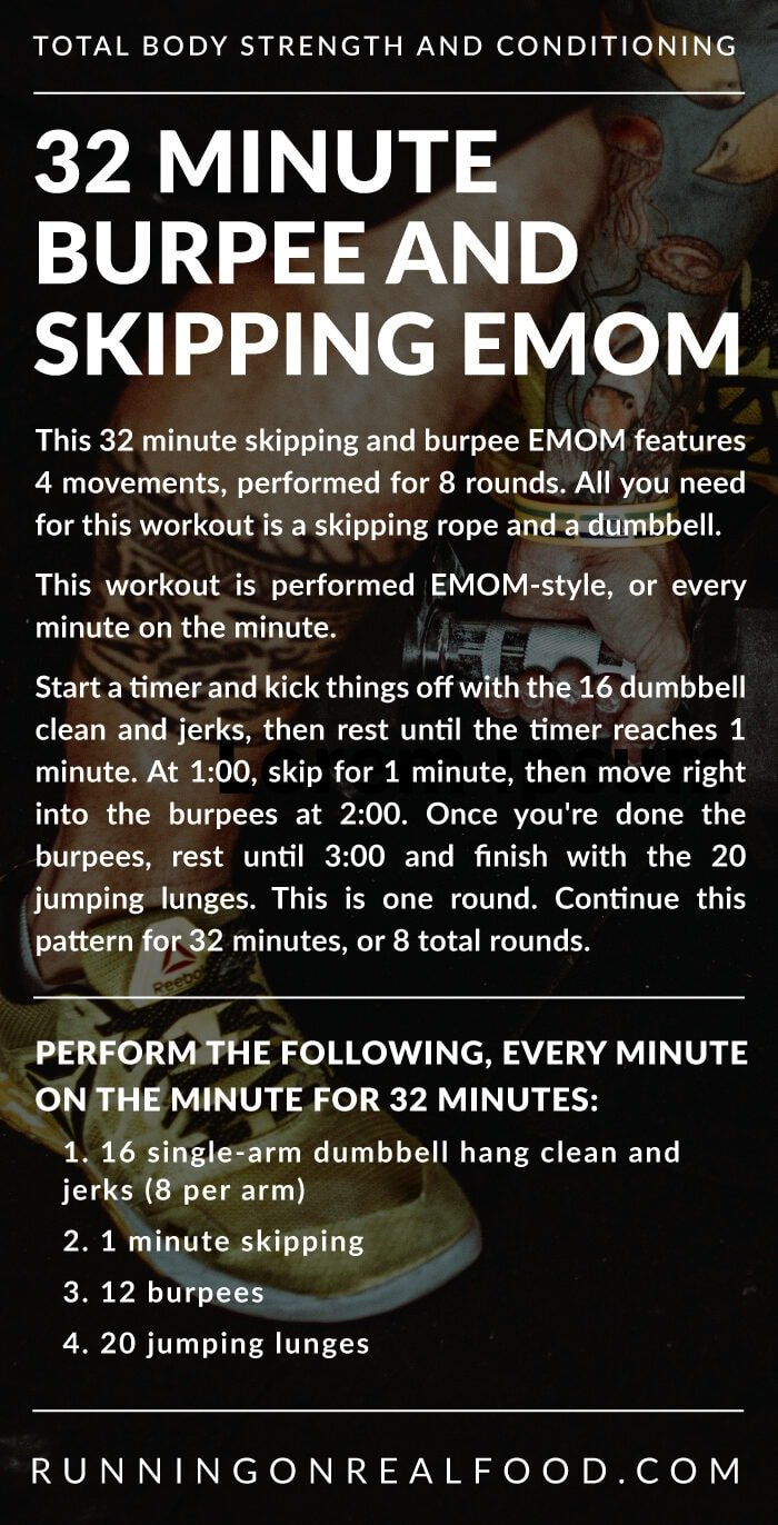 Workout instructions for a 32 minute dumbell and skipping emom workout.