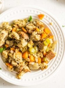 Easy vegan stuffing on a small white plate.