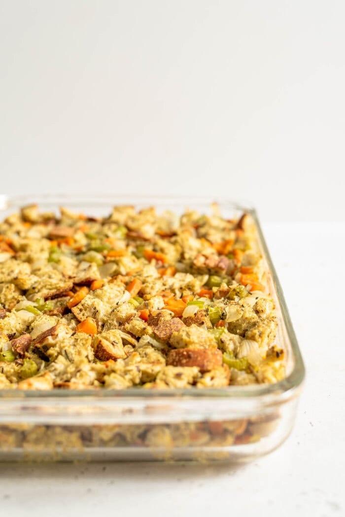 A casserole dish of vegan stuffing.
