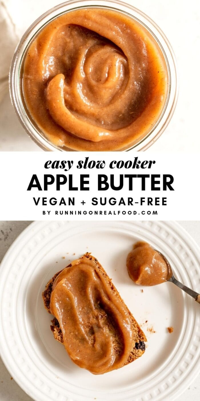 Pinterest collage for apple butter with an image and text overlay.