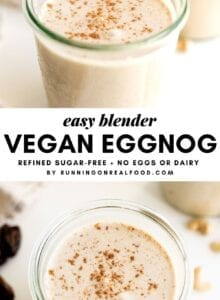 Pinterest collage with two images of vegan eggnog and a text overlay.