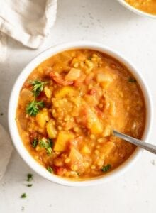 Healthy Vegan Butternut Squash Lentil Soup Recipe