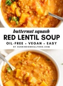 Pinterest collage with 2 images and text overlay reading Butternut Squash Red Lentil Soup.