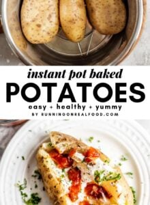 Pinterest graphic with images and a text overlay reading Instant Pot Baked Potatoes.