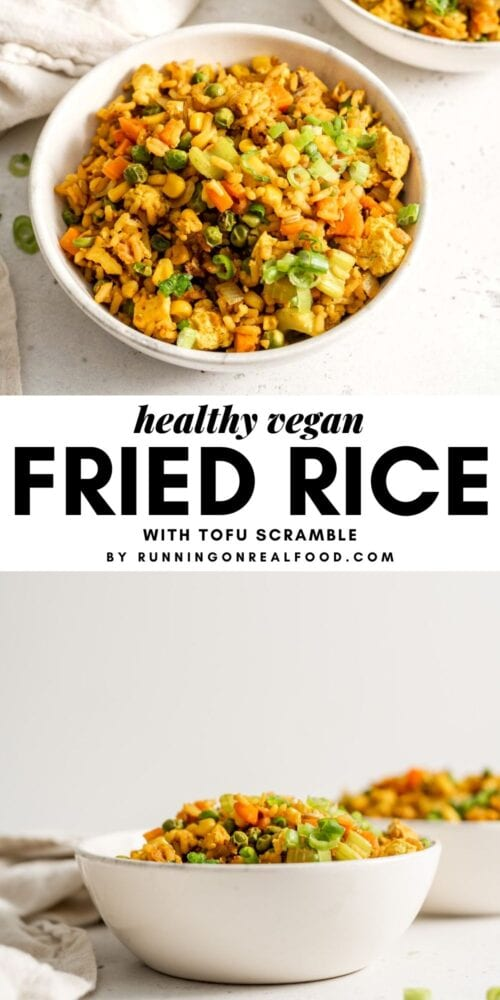 Pinterest graphic with an image of fried rice and a text overlay.