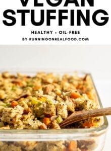 Pinterest graphic for simple and healthy vegan stuffing with an image and a text overlay.