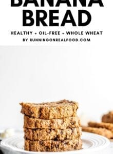 Pinterest graphic with an image of banana bread and a text overlay.
