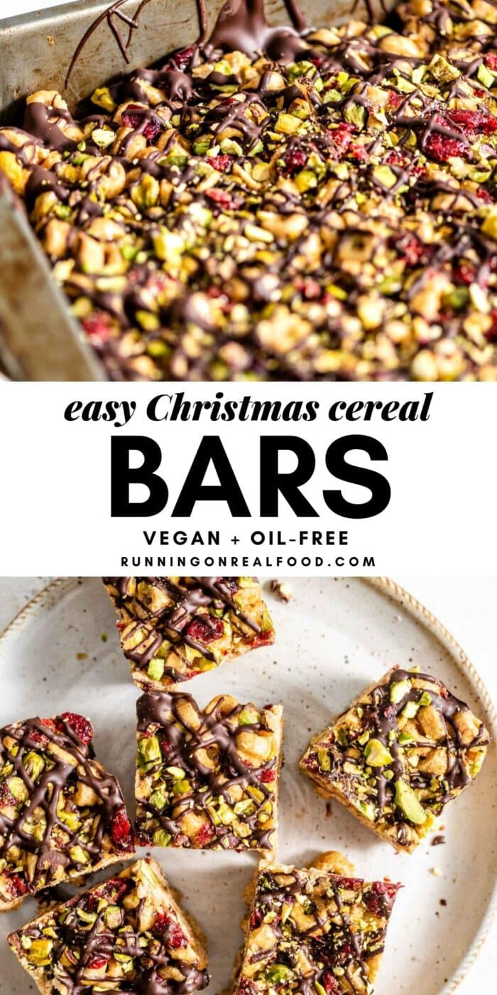 Pinterest graphic with an image and text for vegan cereal bars.
