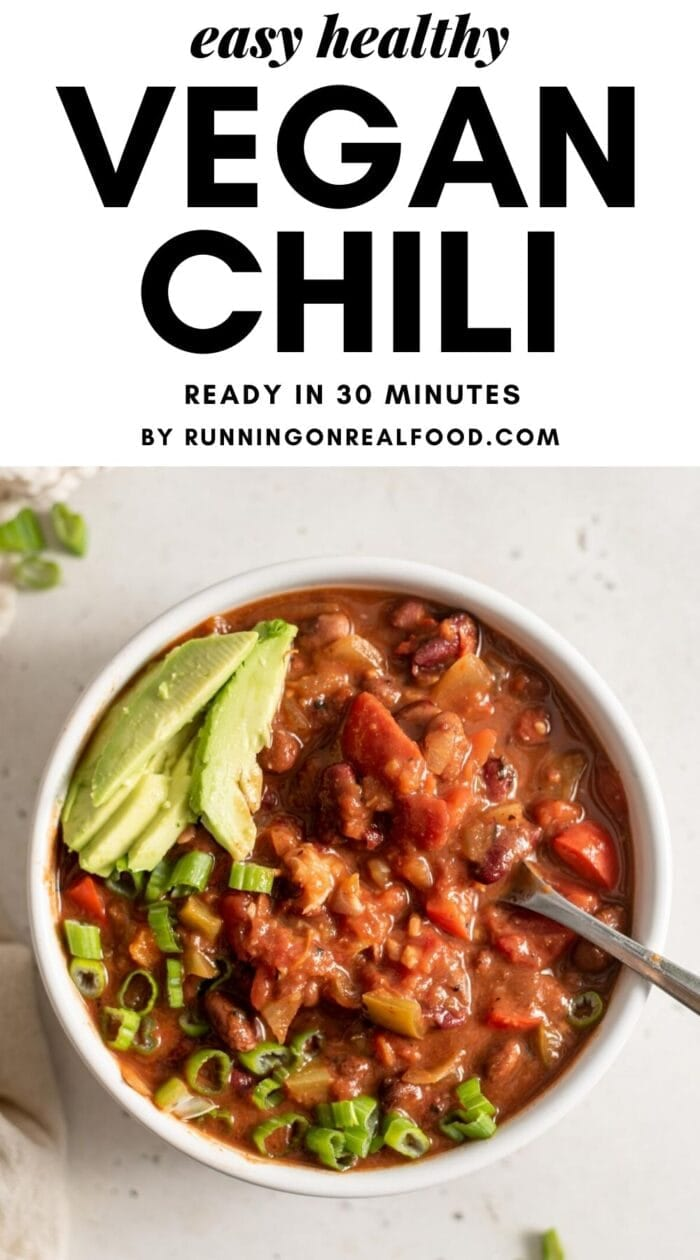 Pinterest graphic with an image and text overlay for vegan chili.