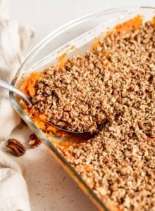 Pecan and oat vegan sweet potato casserole in a baking dish.